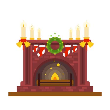 Kamin und Kerzen, Weihnachten und Neujahr. Wohnkomfort und Gemütlichkeit. Familientreffen. Flache Designvektorillustration lokalisiert auf weißem Hintergrund. Vektorgrafik