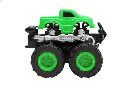 big truck toy with big wheels, bigfoot, monster truck isolated on white background.