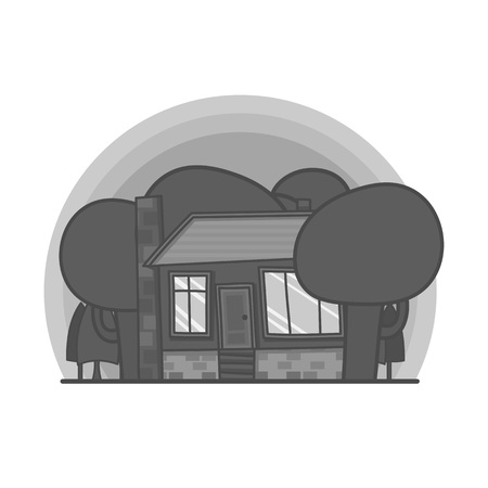 Black and white cartoon scene with house in the forest illustration. Doodle vector, hand drawn building
