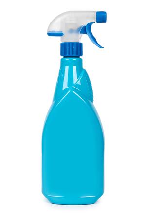 Plastic spray pistol cleaner bottle. Isolated on white background.