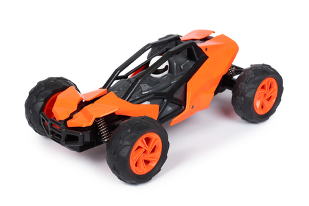 RC model rally, off road buggy. Isolated on white background, joy and fun sport Stock Photo