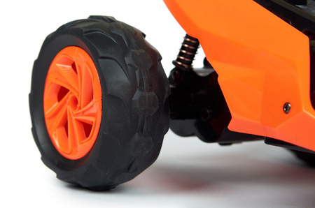 RC model rally, off road race buggy close up detail. Macro car. 스톡 콘텐츠