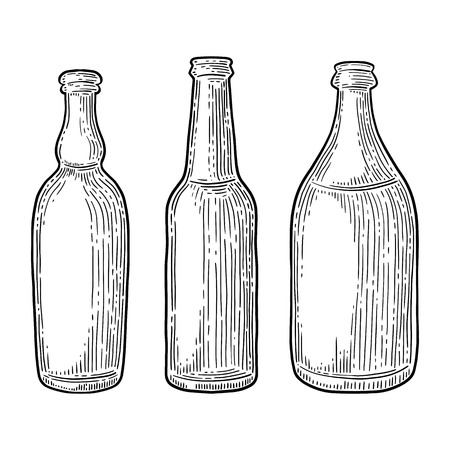Set of beer bottles isolated on white background.