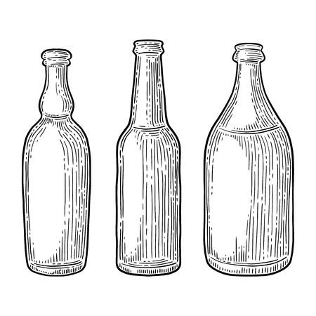 Set of beer bottles isolated on white background.