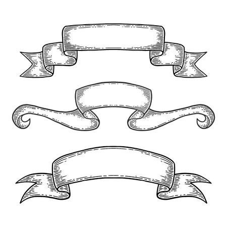 Set of hand drawn ribbons. Isolated on white background. Black vintage engraving vector template. Ilustração