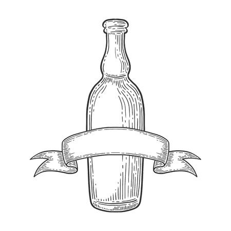 Vector set of beer bottle ink hand drawn style ,isolated on white.