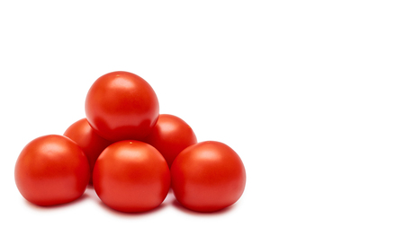Raw red tomato. Isolated on white background. copy space, template.