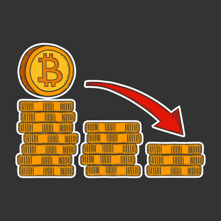 Bitcoin down and decrease stock vector image, digital currency, cryptocurrency money, bitcoin symbol. Doodle and engraved style illustration, hand drawn.