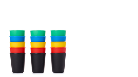 color buckets for game or drinks isolated on white background. copy space, template. 스톡 콘텐츠
