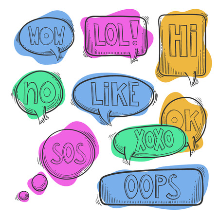Hand drawn set, doodle speech bubbles with text words - lol, hi, wow, omg, sos, oops, no, yes, huh, ok, like, xoxo. Isolated on white background. Vector image