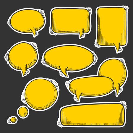 Doodle speech bubbles vector set. Cartoon style message note template for comics. Ilustração