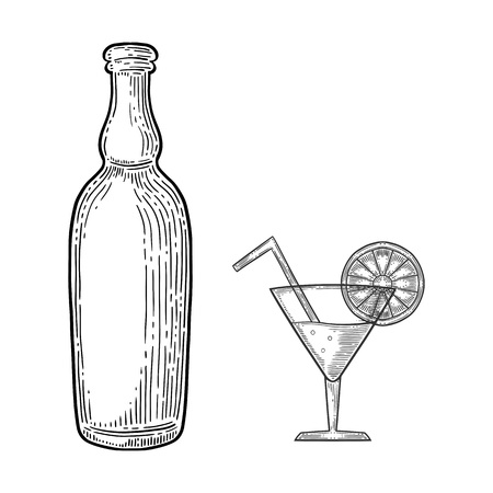 Set of refreshing drinks, bottle with beer or wine and coctail. Hand drawn vector in engraving and sketch style. Isolated on white background.