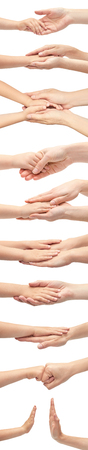 Set of female caucasian hand and kid hand gestures. Isolated on the white background. 스톡 콘텐츠 - 99793107