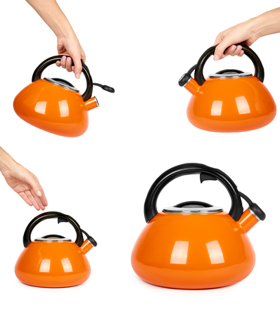set of different Orange kettle with hand, isolated on white background.