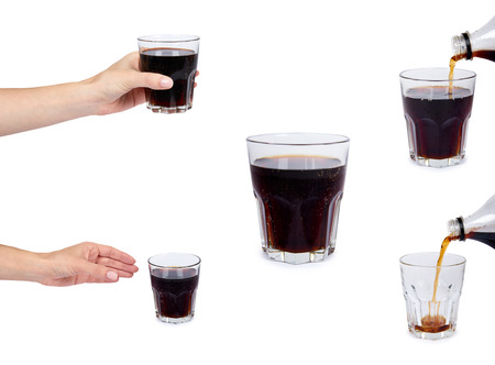 set of different Cola drink in glass with hand isolated on white background.