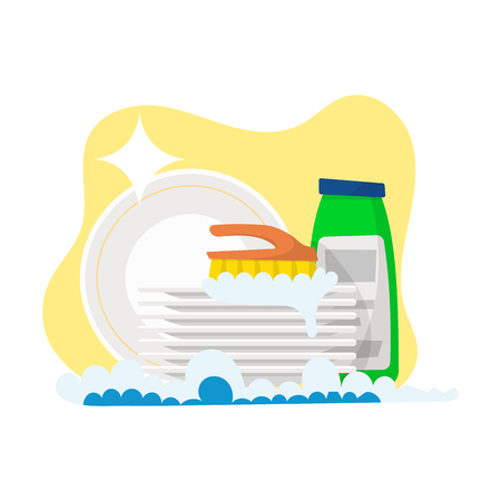plates and detergent for washing isolated on white background. Vector illustration, cartoon style. Illustration