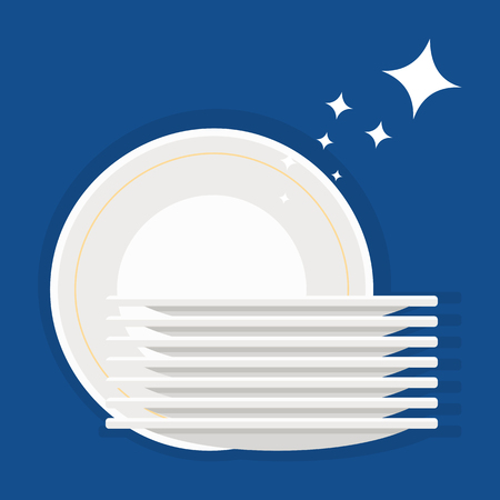 plates and sparkle isolated on blue background. Vector illustration, cartoon style.