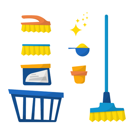 Set of household cleaning equipment isolated on white background. Vector illustration, cartoon style. Stock Illustratie