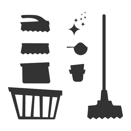 Set of household cleaning equipment silhouetters isolated on white background. Vector illustration.