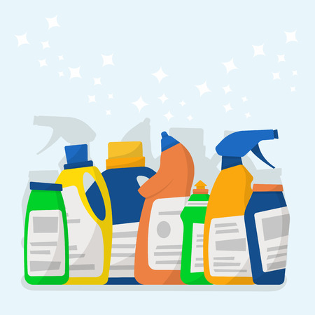 Set of detergent bottles and containers, cleaning supplies. Vector illustration, cartoon style.