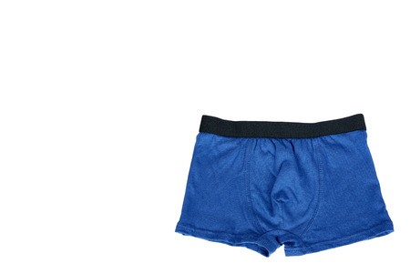 Underpants and clothing for kids isolated on white background, copy space template.