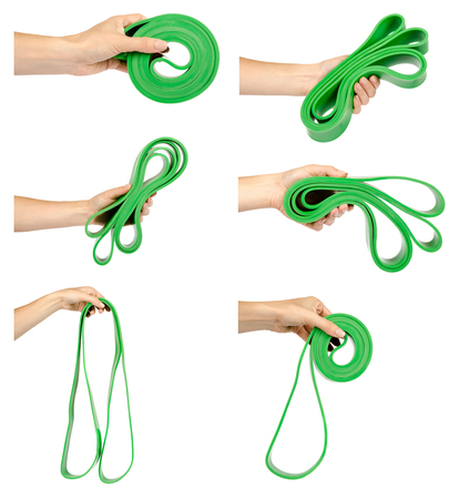 set of different resistance band with hand for fitness sport, isolated on white background Banque d'images