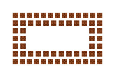 Chocolate pieces background, frame and border, copy space photo.