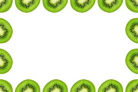 Slice of green raw kiwi fruit background, frame and border, empty space.