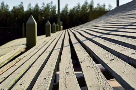 wooden shelter from the sun. Stock Photo