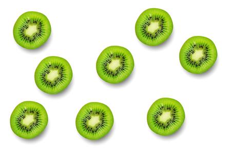 Slice of green raw kiwi fruit pattern background. Stock Photo