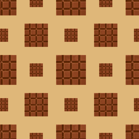 Close up chocolate pieces seamless pattern background.