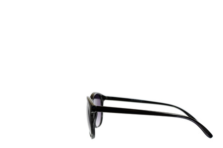 Stylish plastic sunglasses isolated on white background, copy space template.