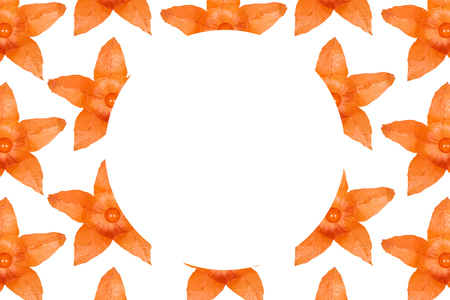 Orange physalis pattern background, flat lay with copy space.