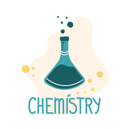 Chemistry flask for medical design. Hand drawn vector isolated on white background.