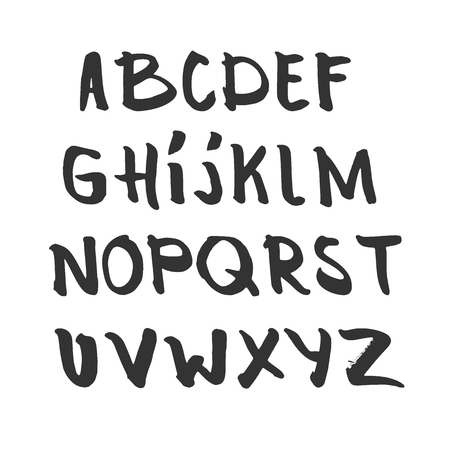 Hand drawn alphabet, latin characters set. Vector lettering for posters, banners or greeting cards. Isolated on white background.