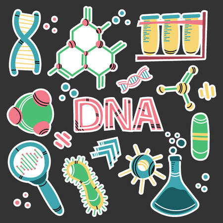 Abstract genome, dna set for medical design. Hand drawn vector on black backdrop.