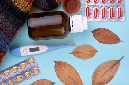 Medicine composition. Pharmacy concept background. Flat lay, top view of festive still life and health. Stock Photo