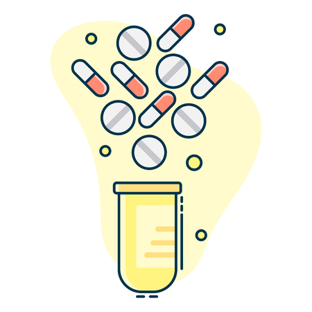 medical set of pills falling into container Illustration
