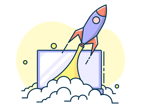 the rocket takes off leaving behind him puffs of smoke, the concept of a startup and ideas. Line art, flat style vector