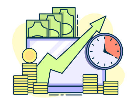time is money, quick loans and deposits concept. Line art, flat style vector