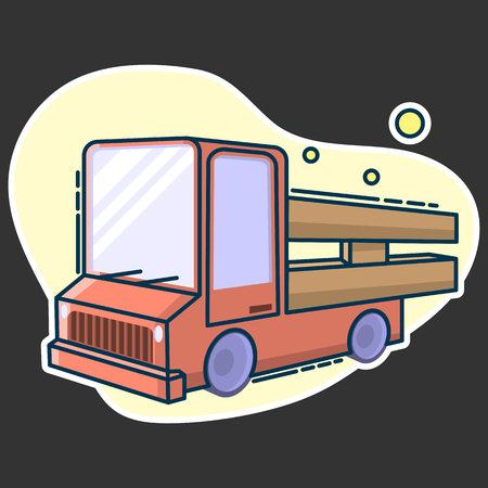 Rustic cargo truck for fast delivery goods. Line art, flat style vector