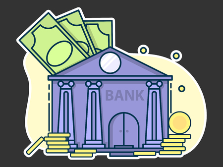 bank with gold coins and cash, protection and trust concept. Line art, flat style vector