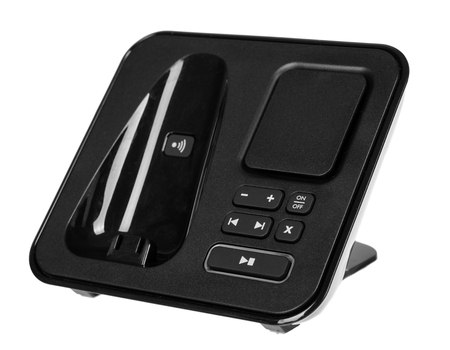 modern landline cordless phone, old technology concept. Isolated on white background Stock Photo