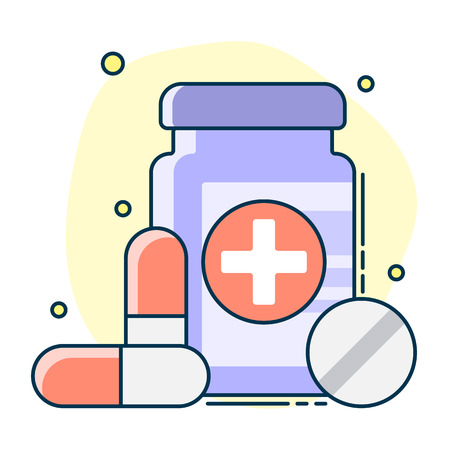 medical set of container, tablets and pills. Line art, flat style vector