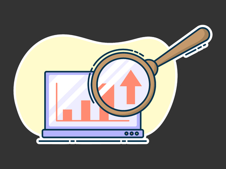 Laptop with growing graph on it, magnifying glass on screen. Line art, flat style vector