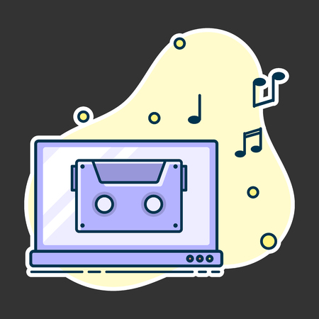 Notes flow from laptop. Concept of music playing. Line art, flat style vector