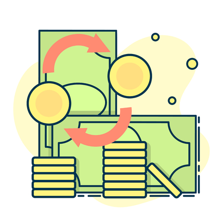Money exchange concept, coins and cash, banking currency sign. Line art, flat style vector
