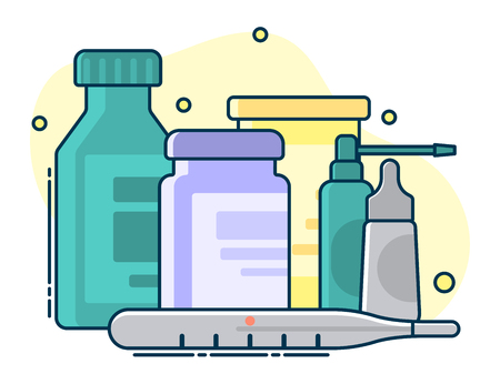 medical set of various pills and containers. Line art, flat style vector
