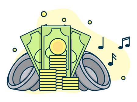 Music market with money sign, concept of paid sound industry. Line art, flat style vector