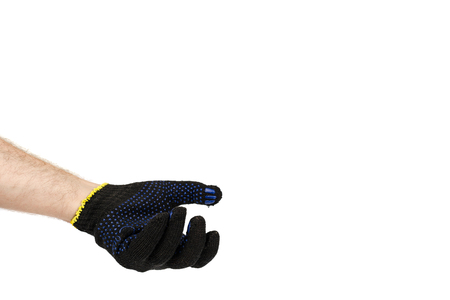 Dark blue protective cloth gloves with hand, handyman equipment. Isolated on white background. Copy space Stock Photo